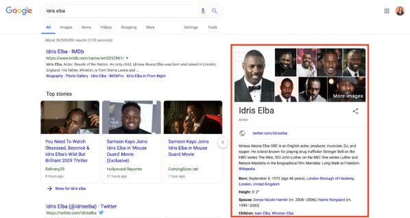 structured data knowledge panel example idris elba google