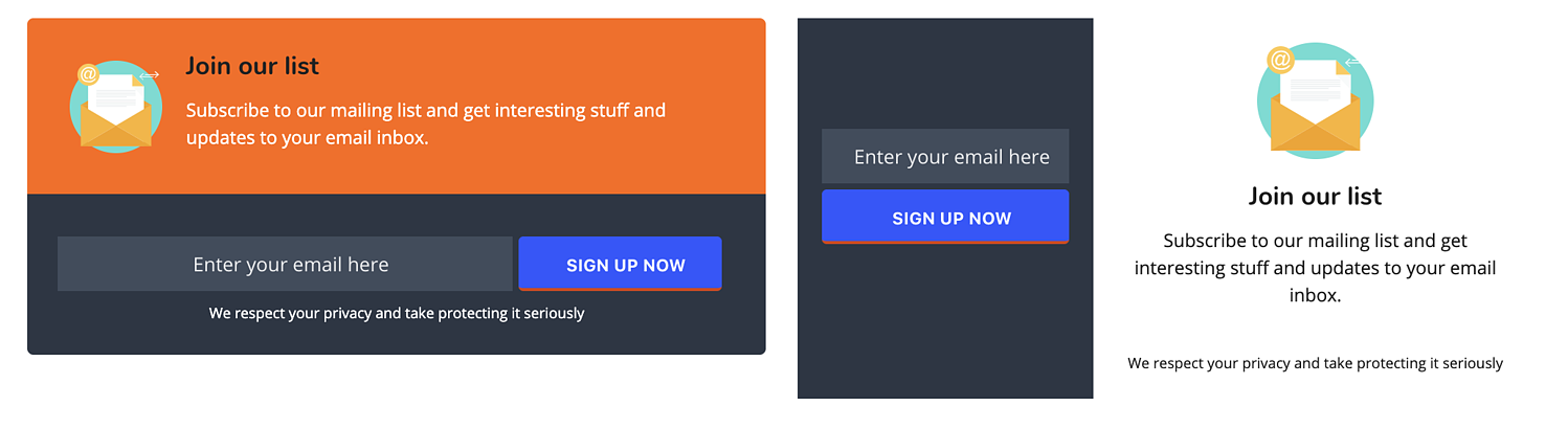 subscription form example of easy social share buttons plugin