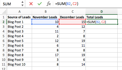 SUM formula entered in column C of Excel spreadsheet to find the sum of cells B2 and C2.