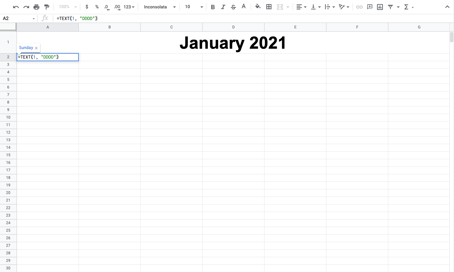 Entering the weekday formula in a Google Sheets calendar