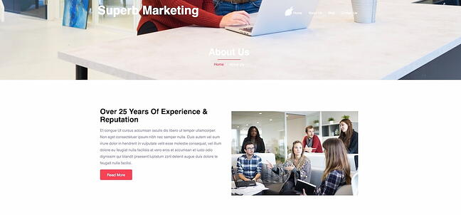 Super Marketing drag-and-drop theme demo (about us page)