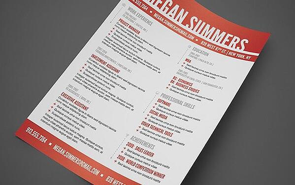 Creative resume template with large, red header
