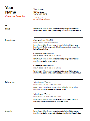 Swiss Resume