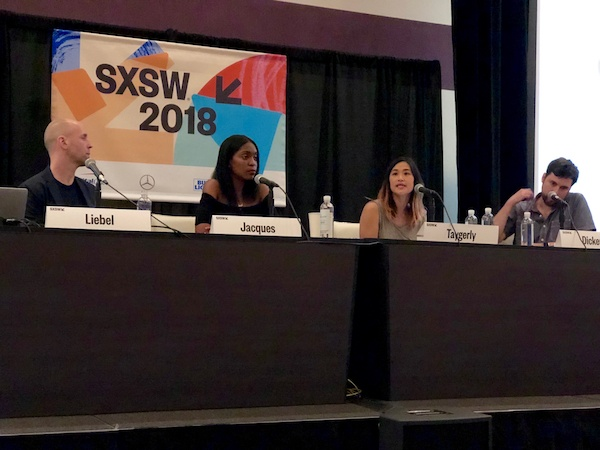 Panel at SXSW 2018 with technology experts discussing social media