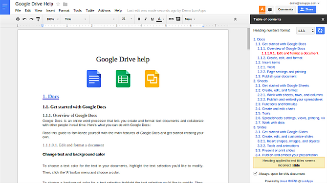 Table of Contents sidebar in a Google Doc