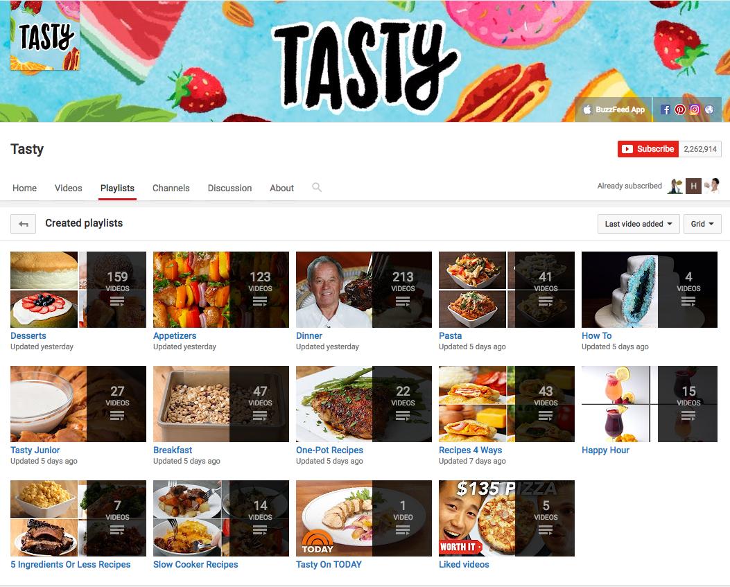 Tasty playlists example.
