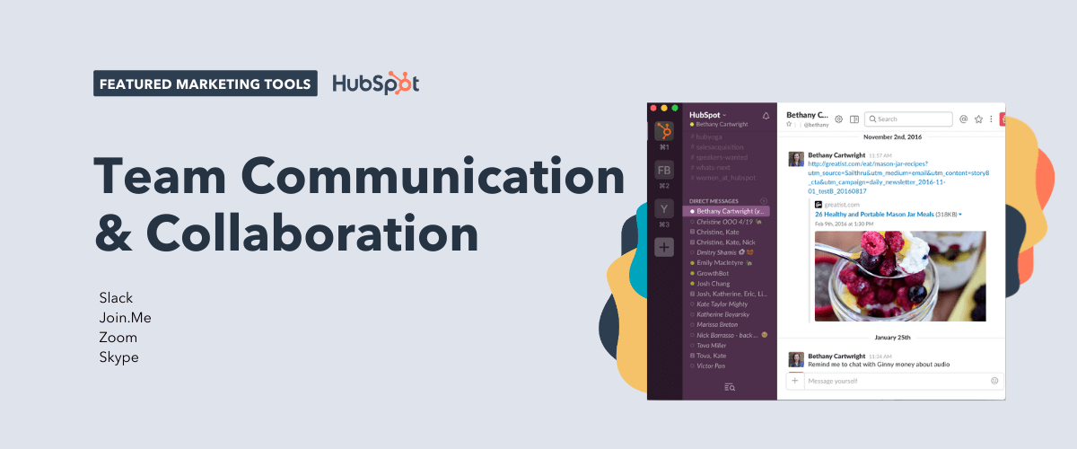 team communication and collaboration tools, including slack, join.me, zoom, and skype
