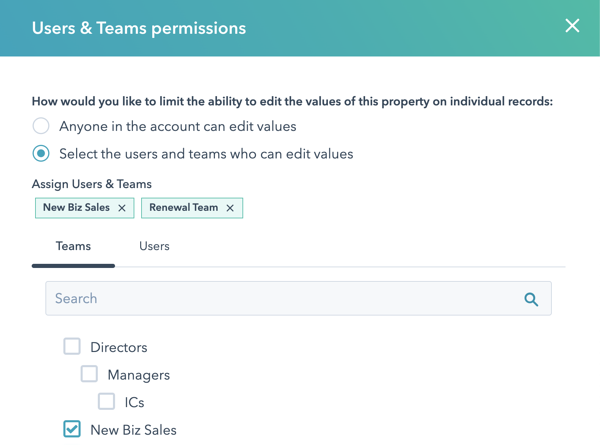Users and teams permissions selections