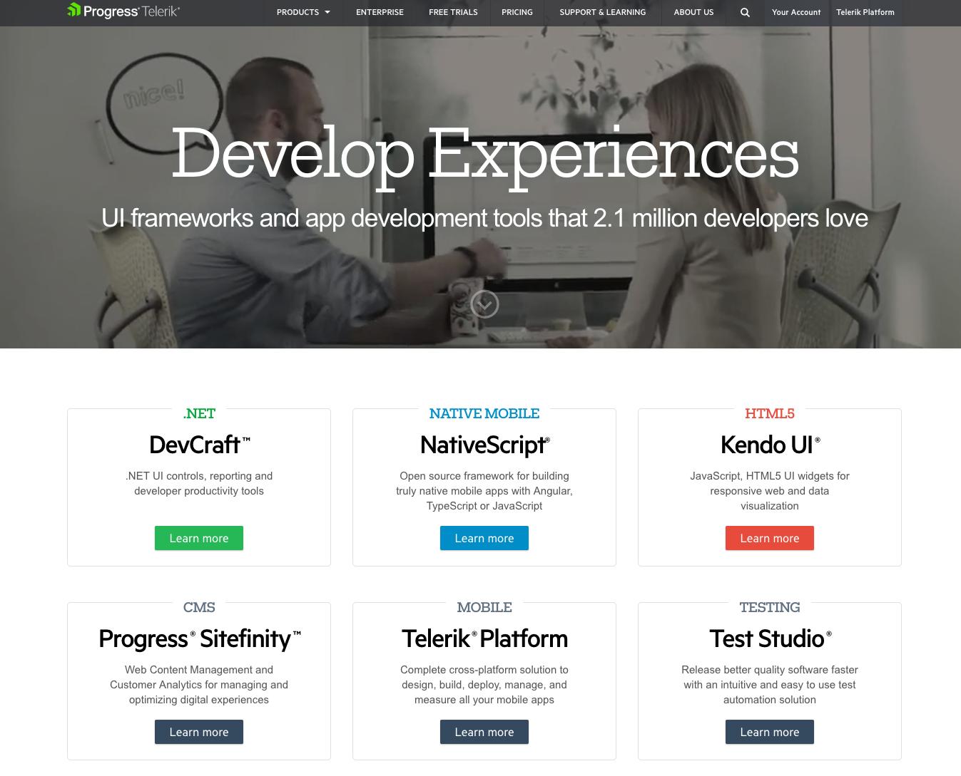 Telerik by Progress homepage web design