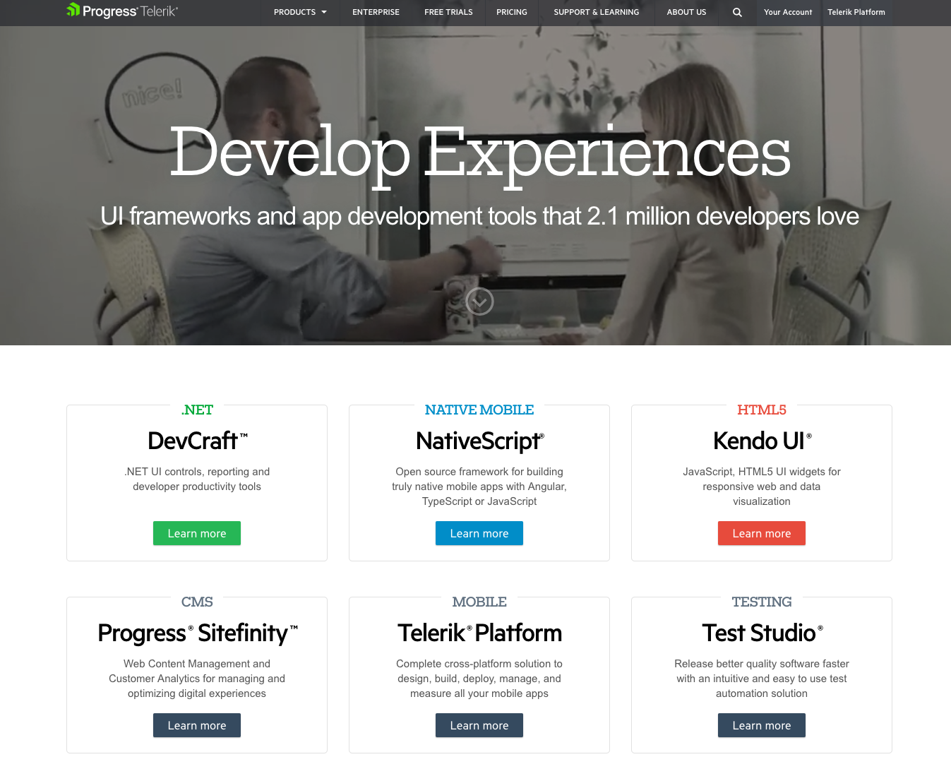 Telerik by Progress homepage web design