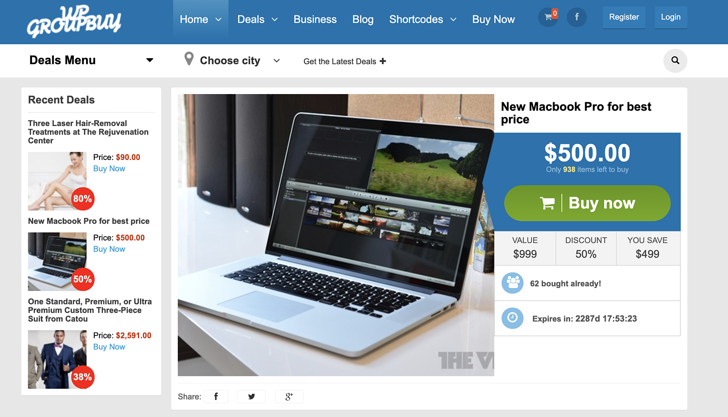 template designs on WPGroupbuy Groupon clone theme review