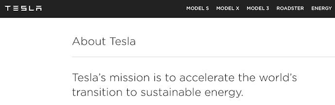 Tesla vision and mission statement
