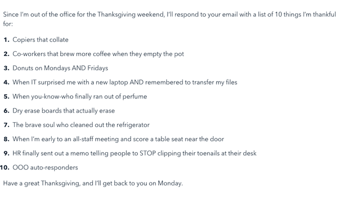 The Thankfulness Out Of Office Email Template With A List 10 Things Sender Is