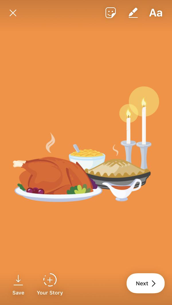 Thanksgiving sticker in an Instagram Story