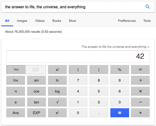 Google search result for 'the answer to life, the universe, and everything,' referencing The Hitchhiker's Guide to the Galaxy