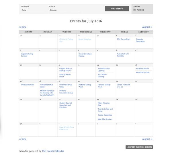 the events calendar plugin