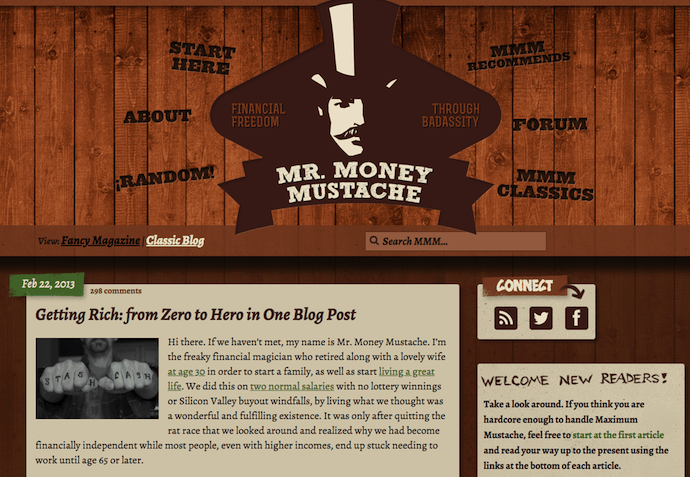 Personal finance blog of Mr. Money Mustache with wood themed background and illustrated logo