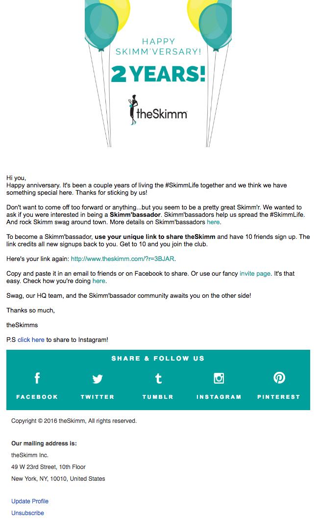 "Email Marketing Campaign Example: TheSkimm - ""Happy Skimmversary"""