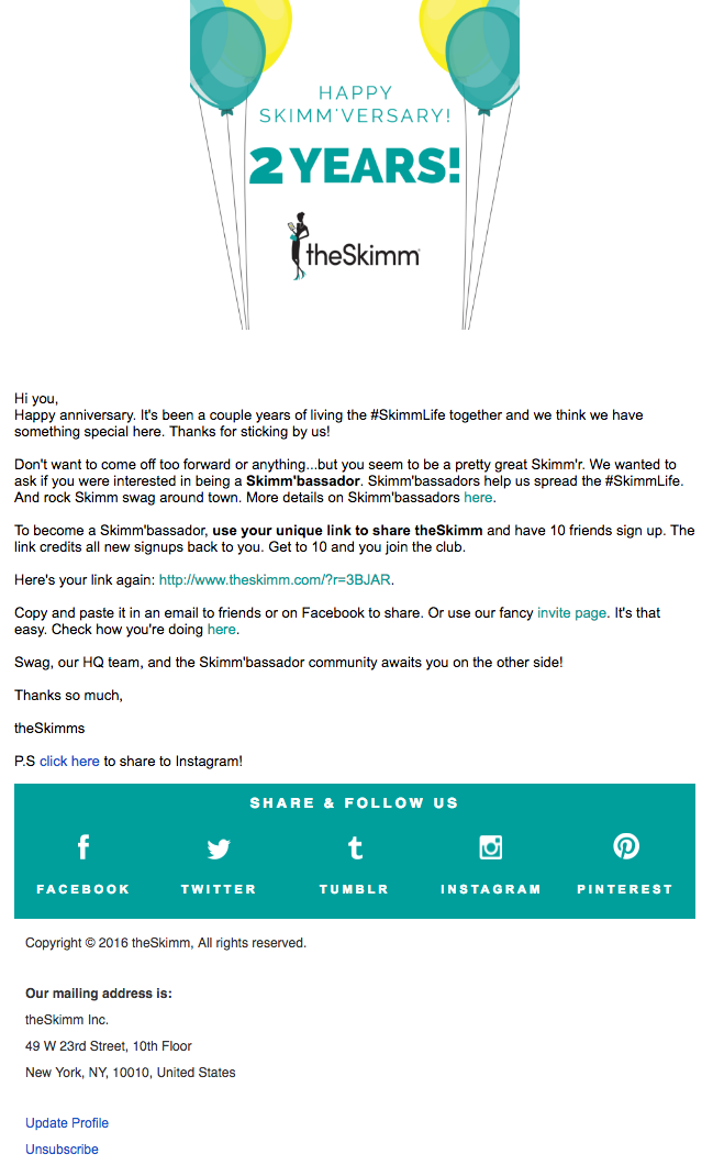 Email marketing campaign example by theSkimm celebrating a user's subscriber anniversary