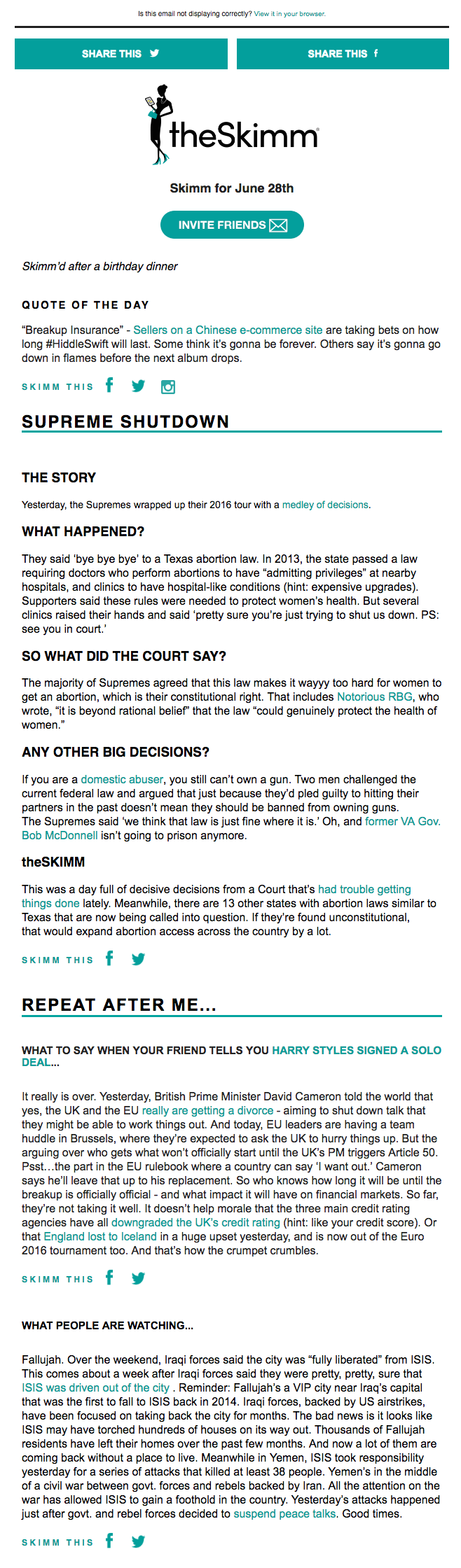 Email newsletter example design with news by theSkimm