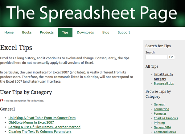 the spreadsheet page's excel tips roundup