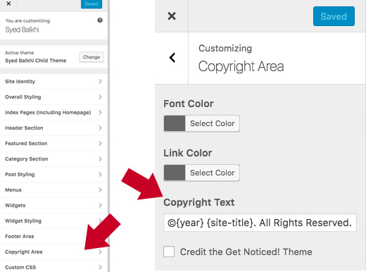 theme settings on how to edit footer in WordPress