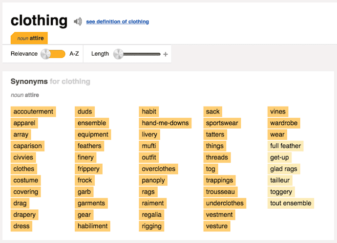 Brainstorming exercise using Thesaurus.com to search for synonyms of clothing.