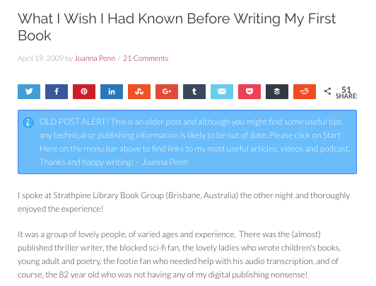 Example of a thought leadership blog post by Joanna Penn on writing a book