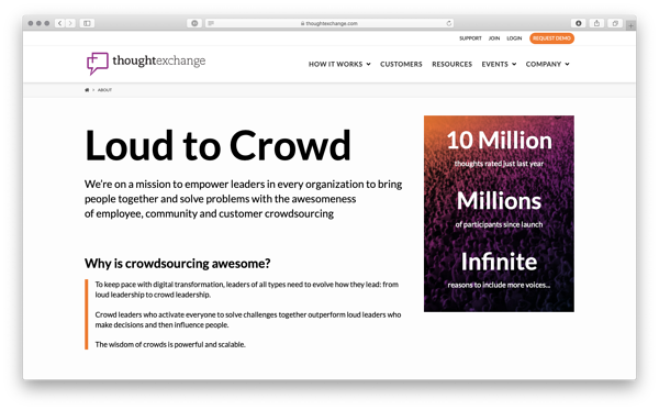Thoughtexchange crowdsourcing example.