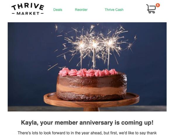 thrive market retargeting ad for subscription expiration reminder