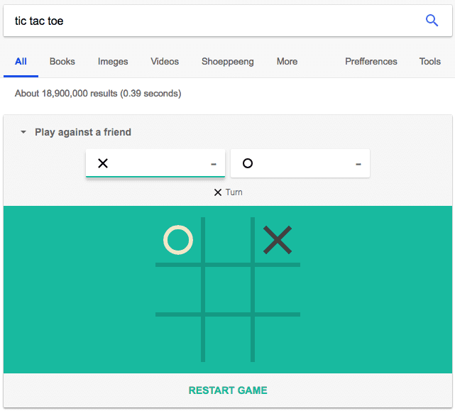 Google Easter egg allowing you to play tic tac toe