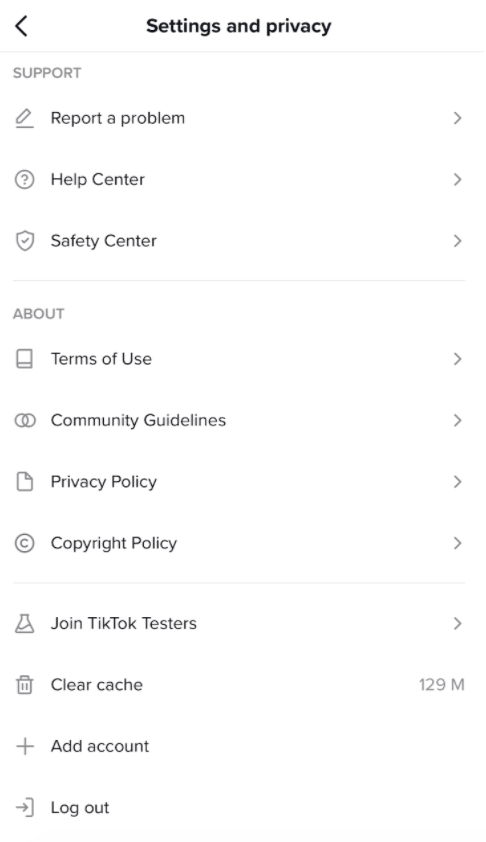tik tok's settings page