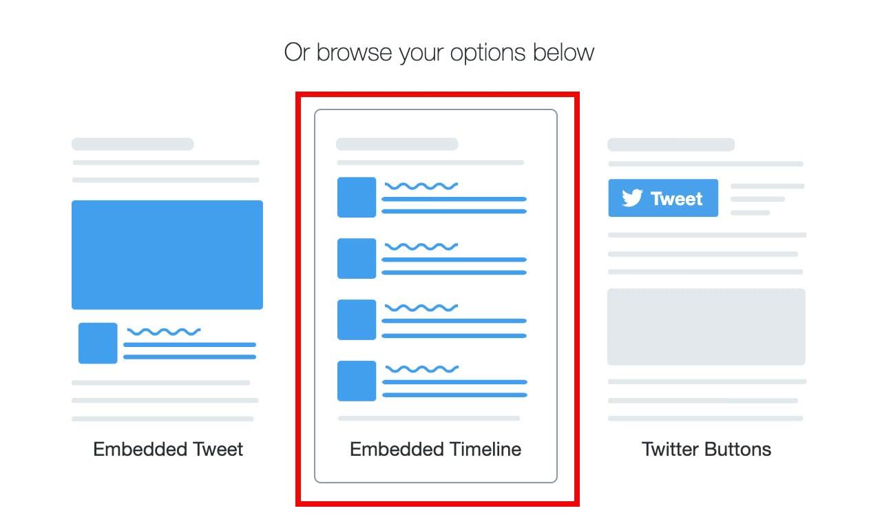 embedded timeline button on twitter developer page