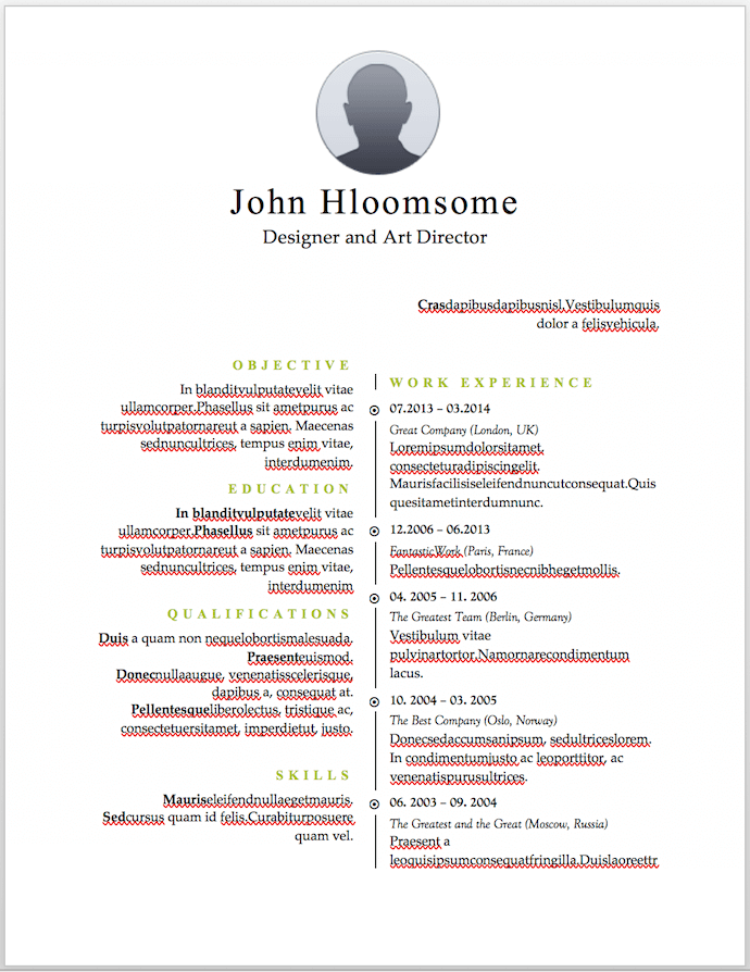 Timeline-style resume template for MS Word