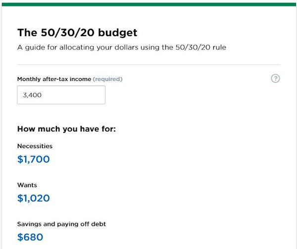 "tool example from nerdwallet that reads ""the 50/30/20 budget"" and is a budget calculator"