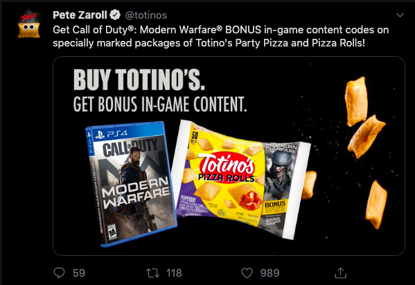 Totinos promotion tweet example
