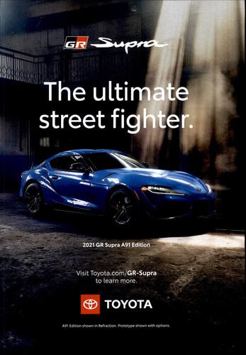 """Toyota programmatic print ad on the SEMA news magazine, full page, with the text """"The ultimate street fighter"""""""