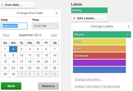 Trello labels used to show calendar status