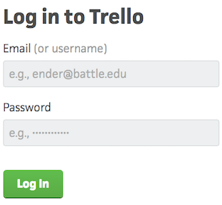 Clever copy on login page of Trello