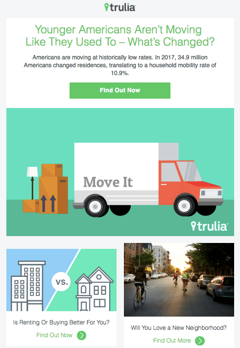 Example of an email marketing campaign from Trulia reporting on moving trends