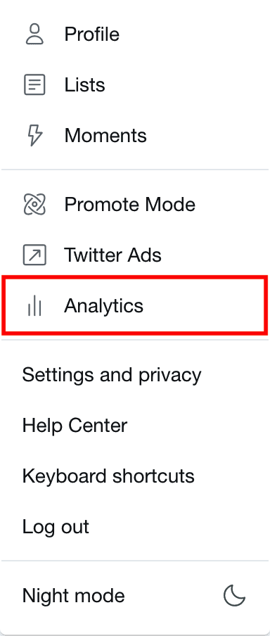 Dropdown menu in Twitter with Analytics button highlighted