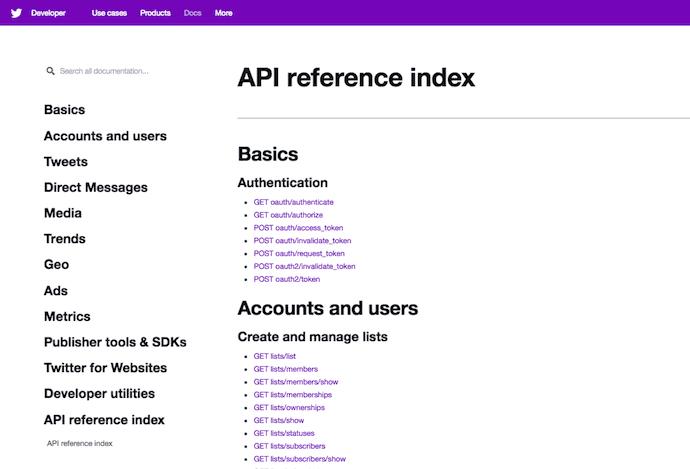Twitter-api-índice de referencia