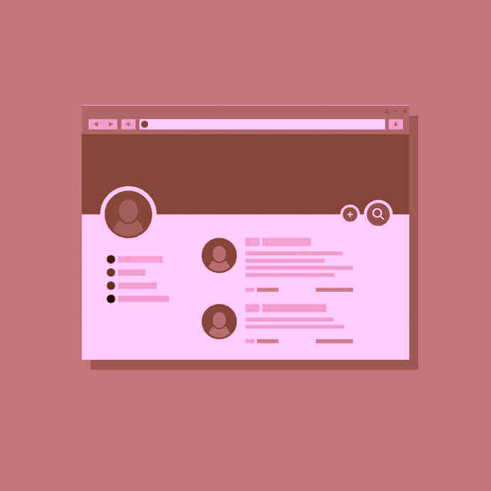 Pinterest profile page illustration in red