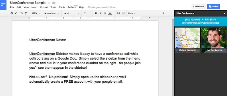 Conference call sidebar in a Google Doc