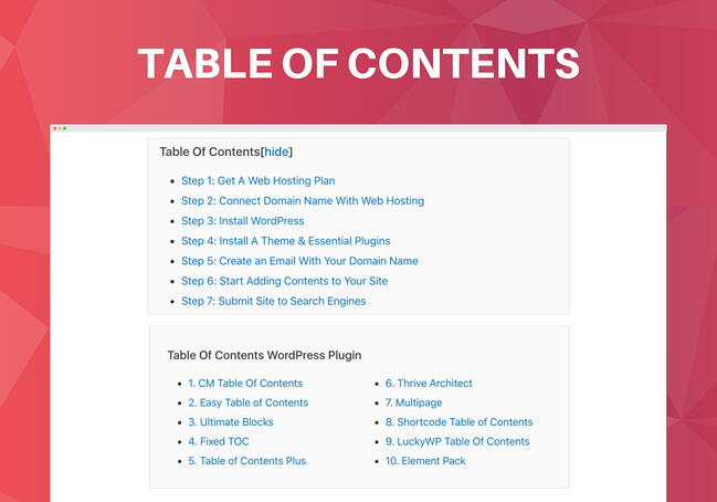 Ultimate Blocks table of contents block demo with several headings and a show/hide button
