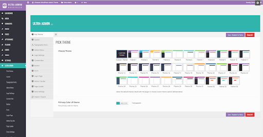 Ultra WordPress Admin dashboard plugin on theme selector view
