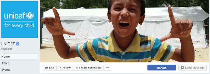 UNICEF Facebook Business Page