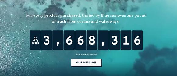 social entrepreneurship example: united by blue trash removal count total