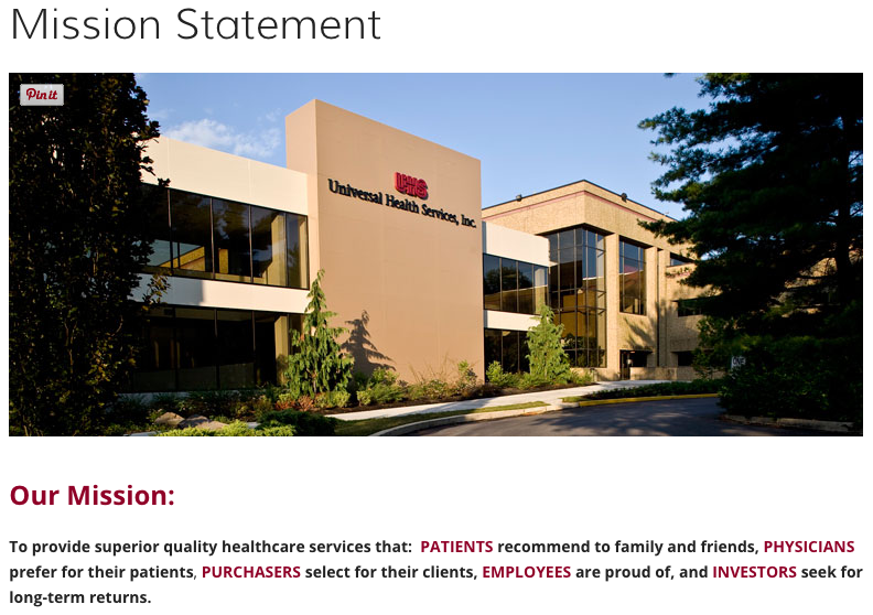 Universal Health Services vision and mission statement