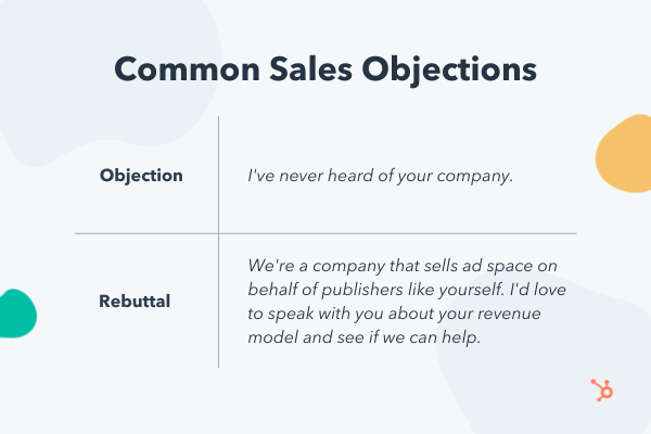Common sales objections and rebuttals about not having heard of the company